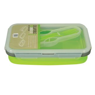 Collapsible Eco Lunch Kit with Spork Utensil - Green