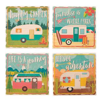 Happy Camper Coasters – 4 Pack
