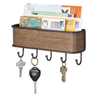 RealWood Wall Mount Mail Center & Key Rack, Walnut