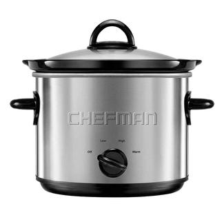 Chefman 3 qt. Round Brushed Stainless Slow Cooker