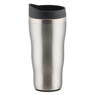 Compact Stainless Steel Travel Mug, 15 oz, Silver