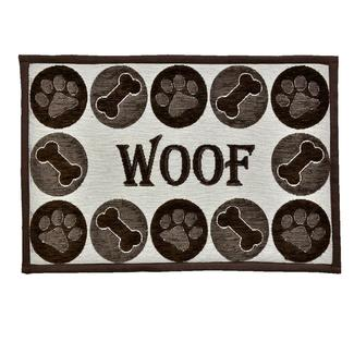 Woof Chenille Design Pet Food & Water Bowl Mat, 12.75'' x 19'', Brown/Beige