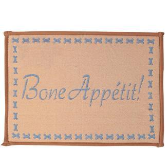 Pet Food & Water Bowl Mat, Bone Appe'tit Design, 12.75