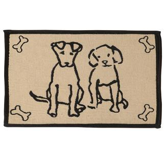 Pet Food & Water Bowl Mat, Dog Pals Design, 12.75'x19', Black/Tan
