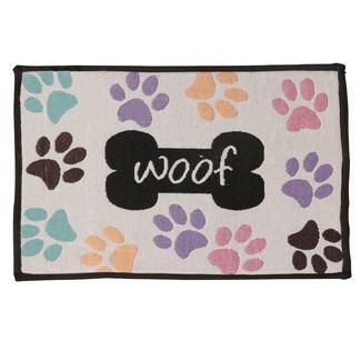 Woof Pawprints Design, Pet Food & Water Bowl Mat, 12.75' x 19', Beige/Multi-Color