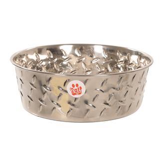 Ruff 'N Tuff Diamond Plate Dog Bowls, 2 Quart