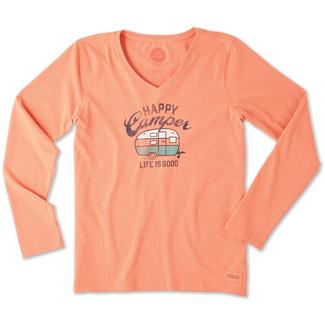 Life is Good Women's Long Sleeve Happy Camper Crusher Tee, Large