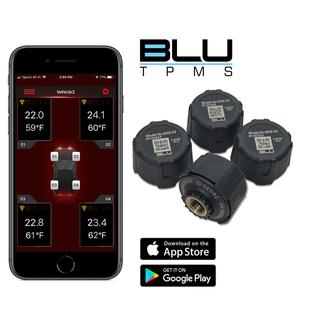 BLU Tire Pressure &amp&#x3b; Temperature Monitoring System, External 1-100psi, Set of 4