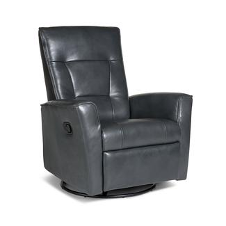 Auckland Leather Swivel Glider Recliner, Victoria Steel