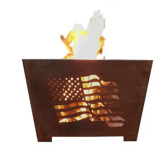 Sheet Metal Flag Fire Basket, Rust Finish