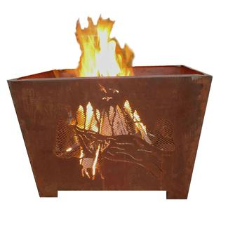 Nature Scene Fire Basket, Sheet Metal, Rust Finish