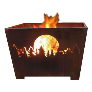 Forest & Moon Fire Basket, Sheet Metal, Rust Finish