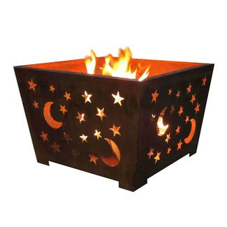 Star & Moon Fire Basket, Sheet Metal, Rust Finish