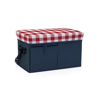 Ottoman Cooler - Navy with Red Gingham
