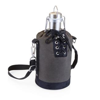 Growler Tote - Gray and Black with 64-oz. Stainless Steel Growler