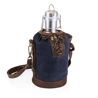 Growler Tote - Navy and Brown with 64-oz. Stainless Steel Growler