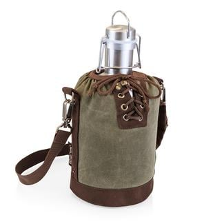 Growler Tote - Khaki and Brown with 64-oz. Stainless Steel Growler