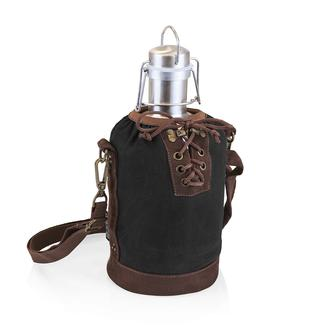 Growler Tote - Black and Brown with 64-oz. Stainless Steel Growler