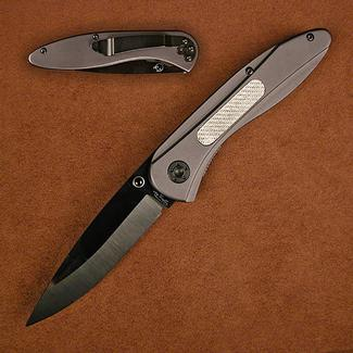 Stone River Ceramic Folding Knife with Titanium Coated Aluminum Handles And Carbon Fiber Inlay