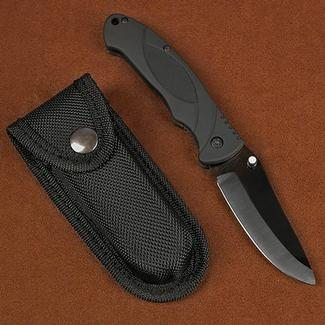 Stone River Ceramics Folding Knife with Rubberized Handle and Belt Sheath