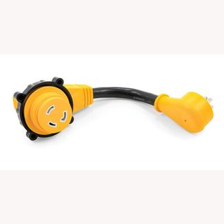Power Grip&trade&#x3b; 12&rdquo&#x3b; Dogbone Locking Adapters, 15-Amp Male&#x2f&#x3b;30-Amp Female