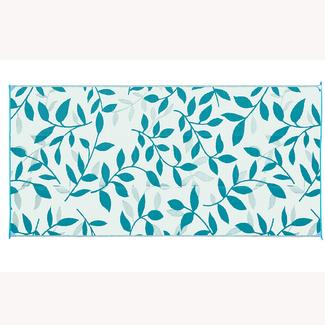 Reversible Leaf Design Patio Mat, 8' x 16', Persian Blue/Gray
