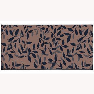 Reversible Leaf Design Patio Mat, 8' x 16', Black/Gray