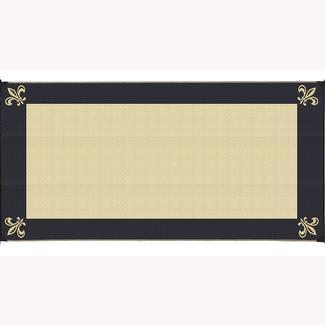 Reversible Fleur Design Patio Mat, 8' x 16', Black