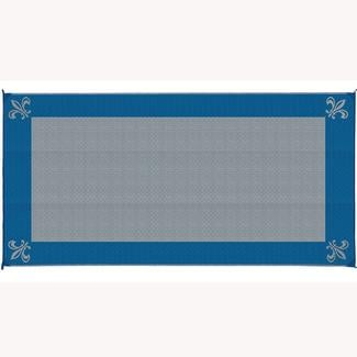 Reversible Fleur Design Patio Mat, 8' x 16', Navy