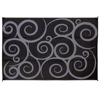 Reversible Swirl Design Patio Mat, 8' x 16', Black/Gray