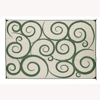 Swirly Design Patio Mat, 8' x 16', Green