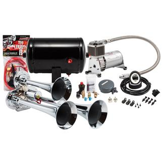 Compact Chrome Triple Truck Air Horn Kit