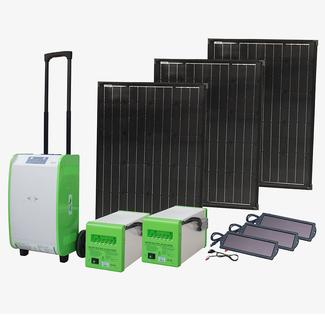 Pure Sine Indoor/Outdoor Portable Solar Generator Kit, 1800W, with 2 Auxiliary Battery Boxes and 270W of Solar Power