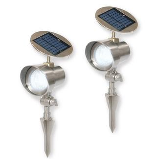 Nature Power White Solar Powered 16-Bright LED Pewter Spot Light 2-Pack