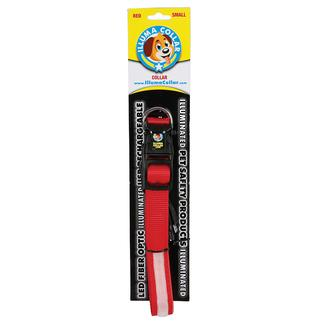 Illuma Collar Rechargeable Illuminated Pet Collar, Small, Red