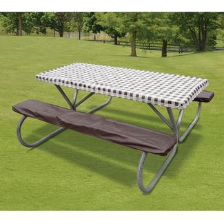 Brown Check Tablecloth &amp&#x3b; Seat Cover Set