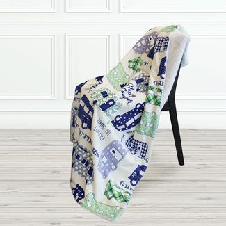Printed Sherpa Throw, Blue/Gray, 50