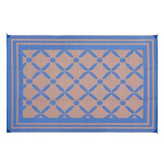 Reversible Windmill Design Patio Mat, 6' x 9', Navy/Taupe