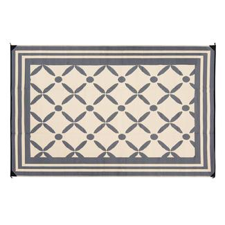 Reversible Windmill Design Patio Mat, 8' x 16', Gray/Taupe