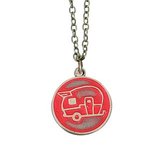 Travel Theme Necklace, Happy Camper, Cherry