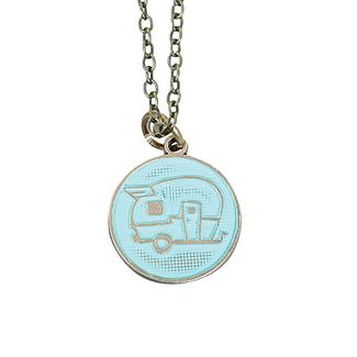 Travel Theme Necklace, Happy Camper, Turquoise