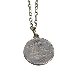 Travel Theme Necklace, Happy Camper, Slate