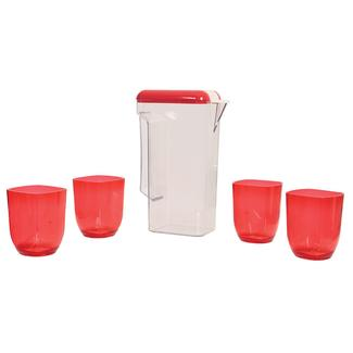 Clear Pitcher & 4 Cup Set, Red