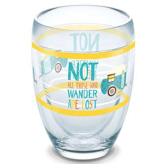 Tervis&reg&#x3b; Wine Glass, 9 oz., Not All Those Who Wander Are Lost Stemless