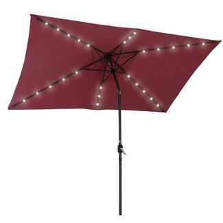 Umbrella with LED Light, Burgundy, 6.5' x 10'