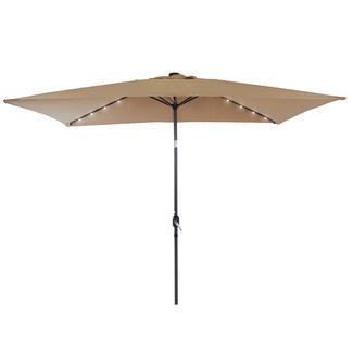 Umbrella with LED Light, Tan, 6.5' x 10'