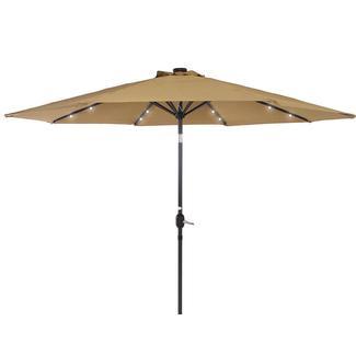 Solar Power Umbrella with LED Light, Tan, 10' x 10'