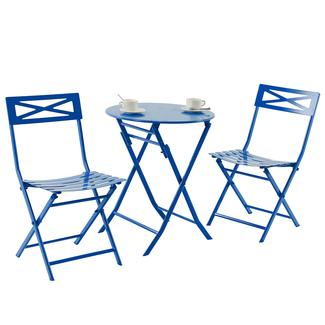 3-Piece Folding Metal Bistro Set, Blue