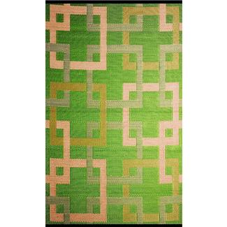 Reversible Squares Outdoor Rug, 6' x 9'