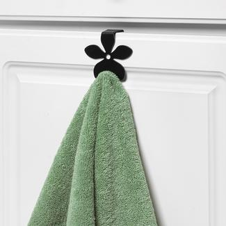 Flower Over the Cabinet Single Hook, Black